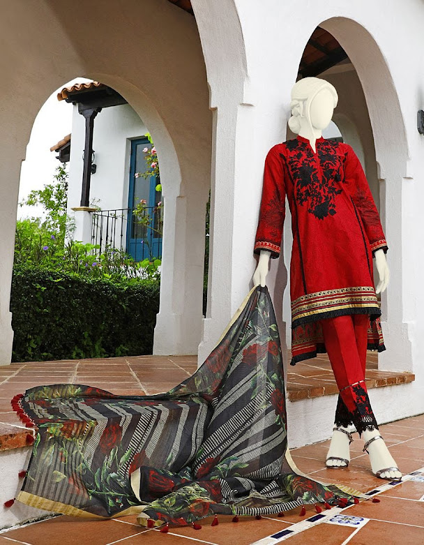 J. Junaid Jamshed red color crimbric suits winter collection