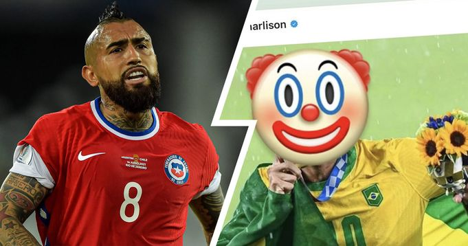 Vidal labels Richarlison a 'CLOWN' after he trolled the Chile midfielder