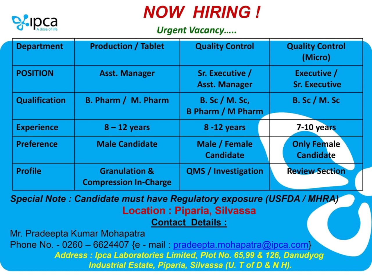 IPCA Laboratories - Job Opening for Production, Quality Control, Quality Control ( Micro ) | Apply Now