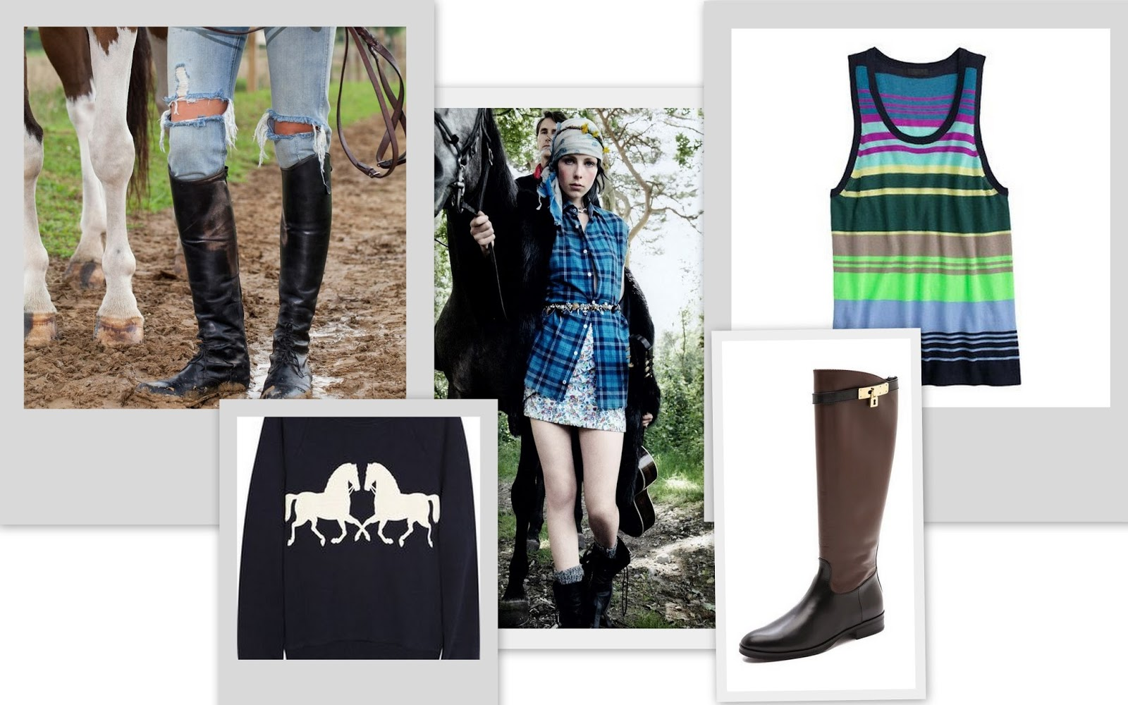 Rding boots, custom made riding boots, The elder statesman, edie Campbell, grunge, plaid and florals