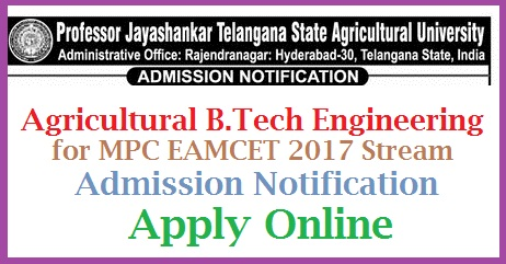 PJS and ANGRAU Agriculture University Agricultural B.Tech Admission Notification Apply Online  Professor Jayashanker Telangana Agricultural University and Acharya NG Ranga Agricultural University Andhra Pradesh inviting Online Applications for the Admission into Agricultural B.Tech Engineering Course from MPC Stream under Farmers quota in both Telangana and Andhra Pradesh | Online Application form for Agricultural Engineering Course for EAMCET MPC Steaming ONLINE Applications are invited from eligible candidates for admission into MPC stream courses viz: B.Tech.(Agricultural Engineering) and B.Tech.(Food Technology) under Farmers Quota for the academic year 2017-18 based on the ranks obtained in Telangana EAMCET-2017 The last date for online submission of duly filled in application for the above courses is 08-07-2017. The Prospectus and Instructions for the applicants are displayed on the University website www.pjtsau.ac.in The applicants are informed to visit University website www.pjtsau.ac.in on 13th July, 2017 for the information pertaining to the dates for verification of certificates and for further procedure. pjs-and-angrau-agriculture-university-b.tech-engineering-admission-apply-online