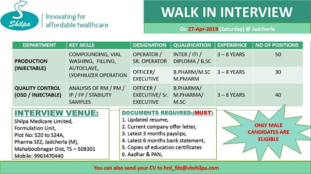 Shilpa Medicare Ltd - Walk-Ins for Multiple Positions (120 Positions) - Production- QC on 27th Apr' 2019