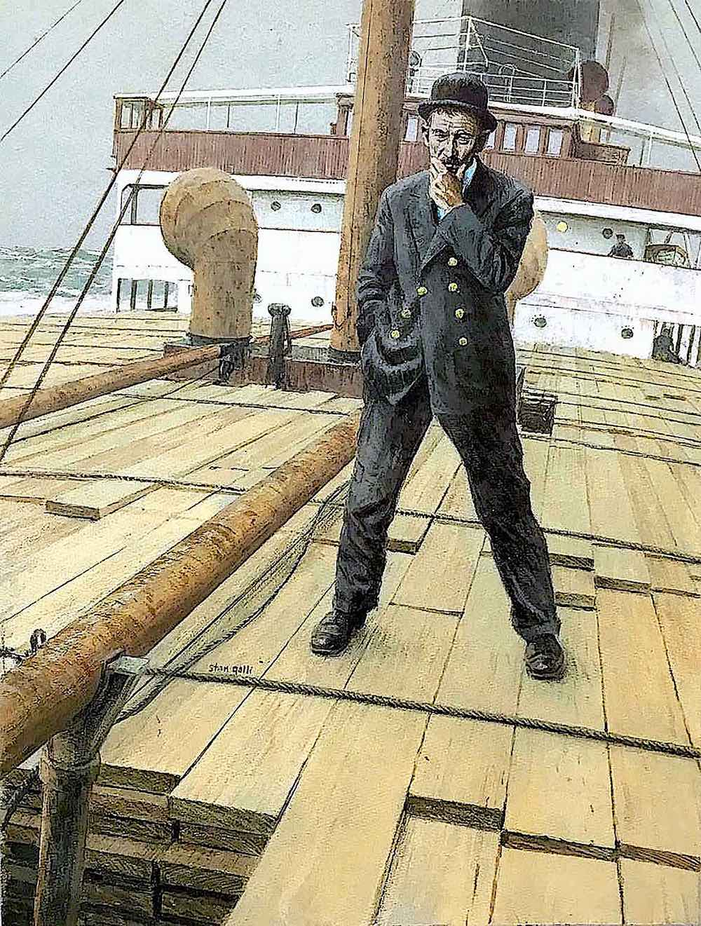 a Stan Galli illustration of a thinking man on a slanted ship deck