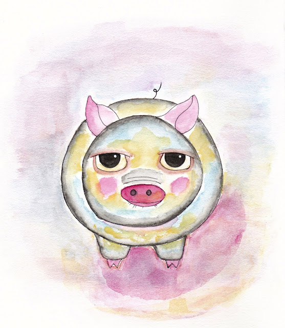 my cute little pig drawn in the style of Mindy Lacefield on Hahnemühle Cézanne Hot Pressed Watercolor Paper with Schmincke watercolors