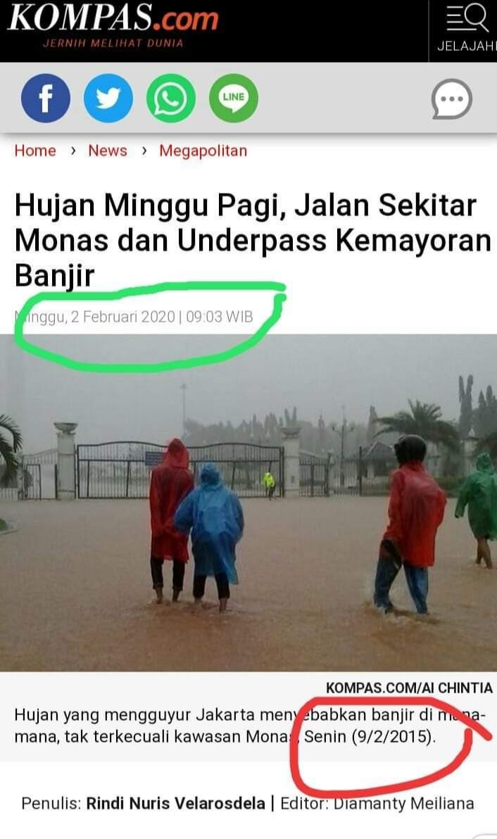Berita Banjir 2020 Gunakan Foto Banjir 2015, Kompas Dendam Kesumat ke Anies?