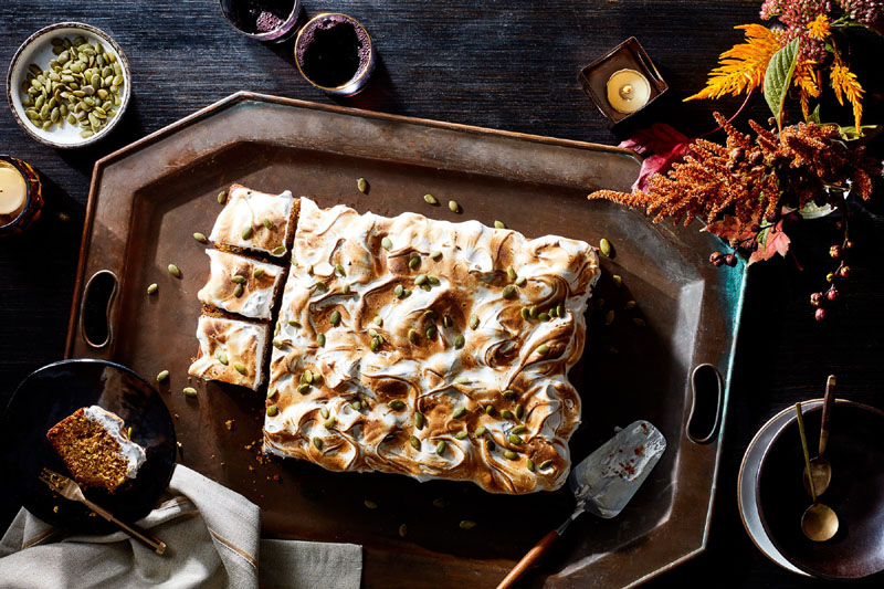 Pumpkin and Cookie-Butter Sheet Cake with Toasted Meringue