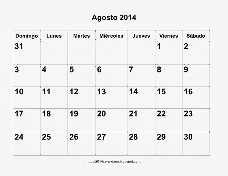 Calendario Agosto 2014 para imprimir, Calendario 2014 para ...