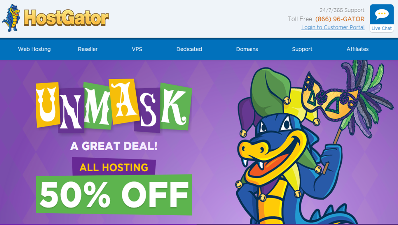 HostGator Mardi Gras hosting Sale flat 50% off sitewide