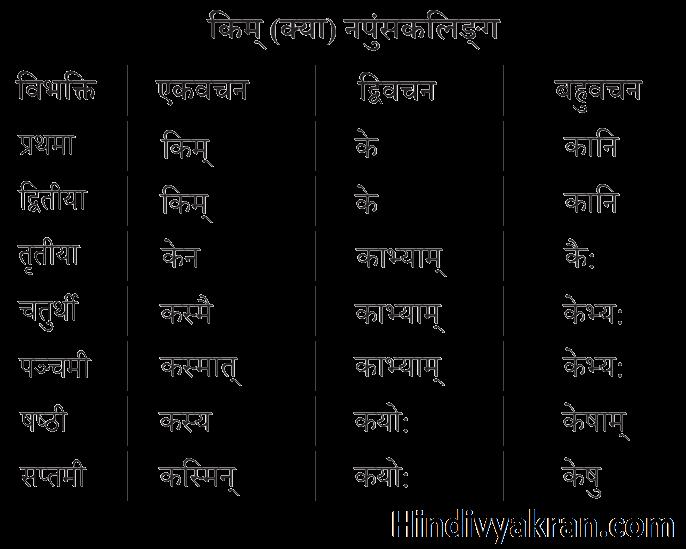 किम् शब्द रूप नपुंसकलिंग संस्कृत में – Kim Shabd Roop Napunsakling In Sanskrit