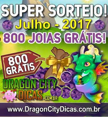 Super Sorteio de 800 Joias Grátis - Julho 2017
