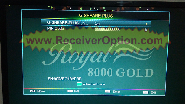 ROYAL 8000 GOLD HD RECEIVER NEW SOFTWARE WITH G-SHEARE-PLUS OPTION