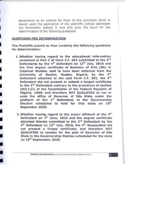 Edo 2020 Obaseki Accused Of Certificate Forgery Sued Nigerian News Latest Nigeria News Your Online Nigerian Newspaper