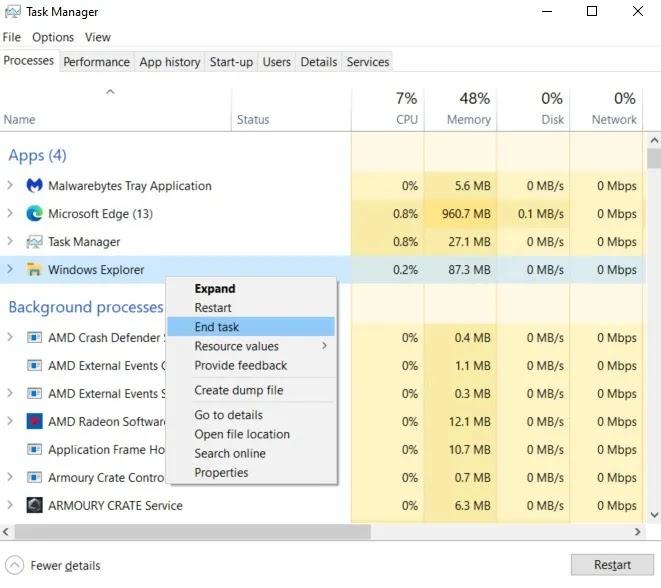 إصلاح تطبيقات Windows لا تستجيب لإنهاء المهمة