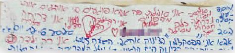 קטע מאחד המכתבים שכתבה הנערה - (צילום: פרטי)