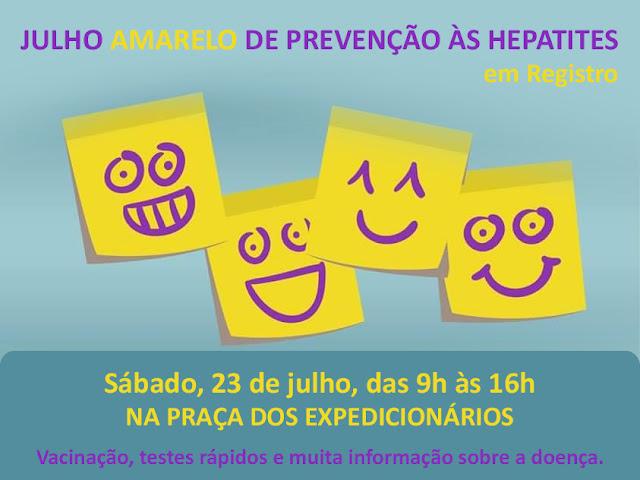 Praça dos Expedicionários de Registro-SP recebe atividades de prevenção a hepatites neste sábado, 23/07