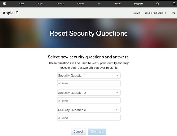 apple reset security question