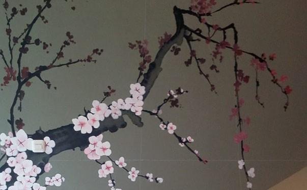 Jasa Lukisan Mural Bunga Sakura Terbaru