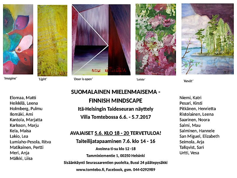 Ryhmänäyttely Villa tomtebossa 6.6.-5.7.2017