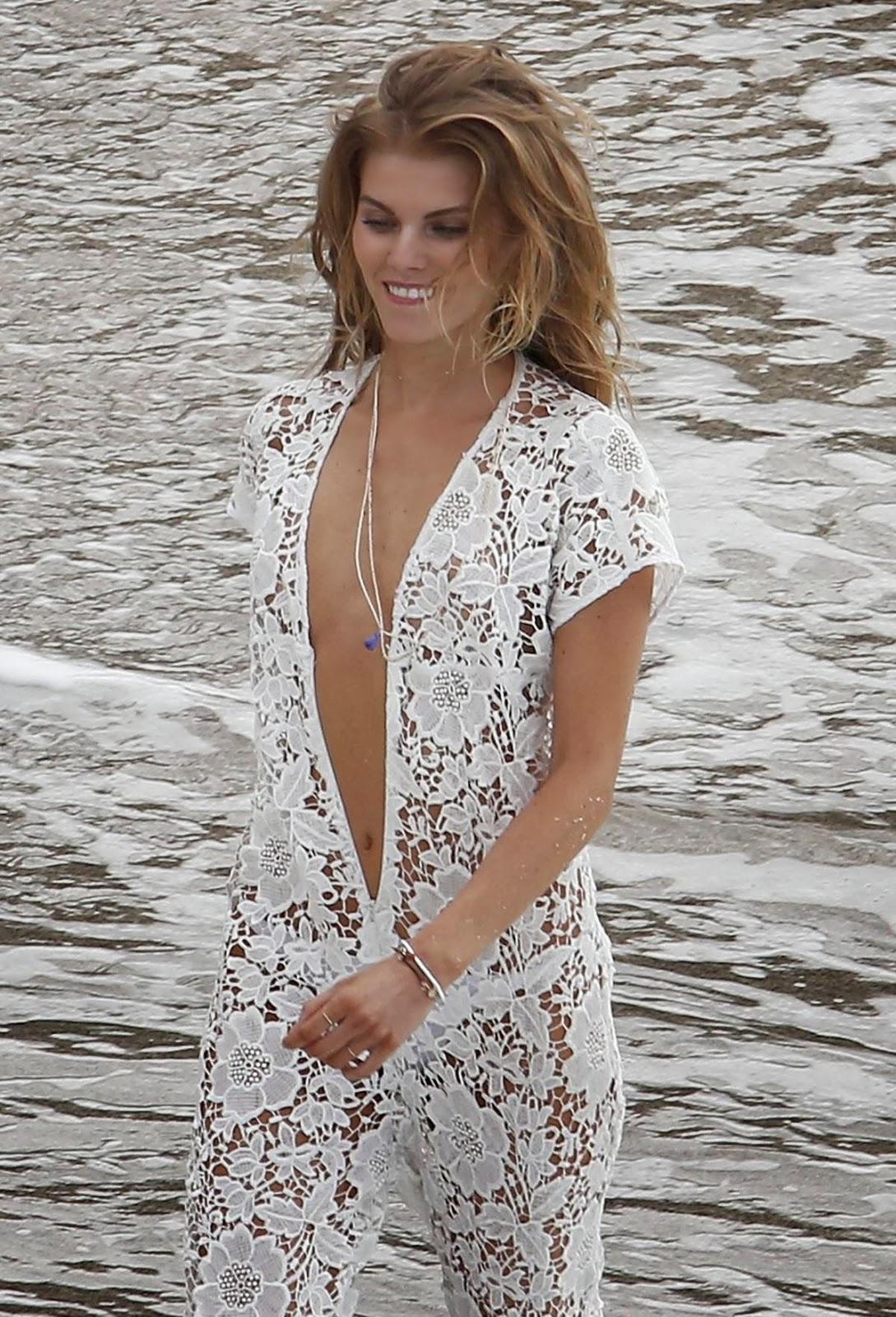 Maryna Linchuk Topless Handbra Lingerie Photoshoot Candids On A Beach In St. Barths   Hot Girls
