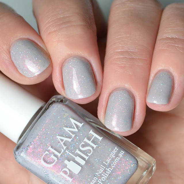 grey shimmer nail polish four finger swatch