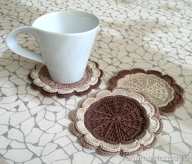 "Подставки под чашки ""Шоколадный цветок"""
