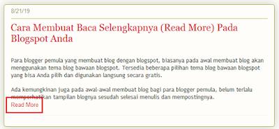 Cara Membuat Baca Selengkapnya (Read More) Pada Postingan Blogspot Anda Secara Manual