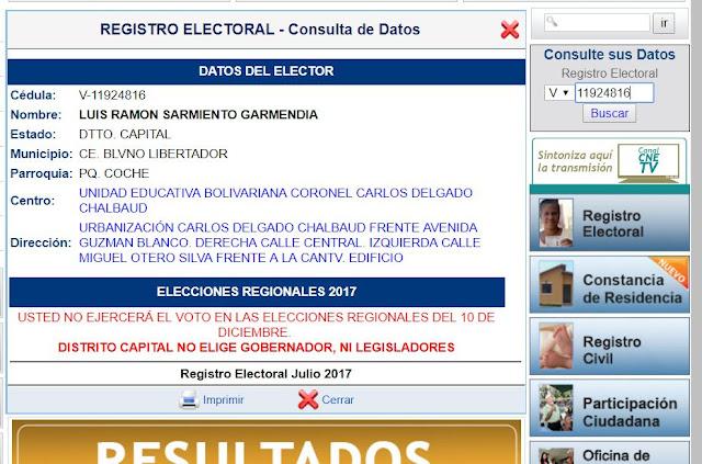 CNE hace pública una lista Tascón en su página web