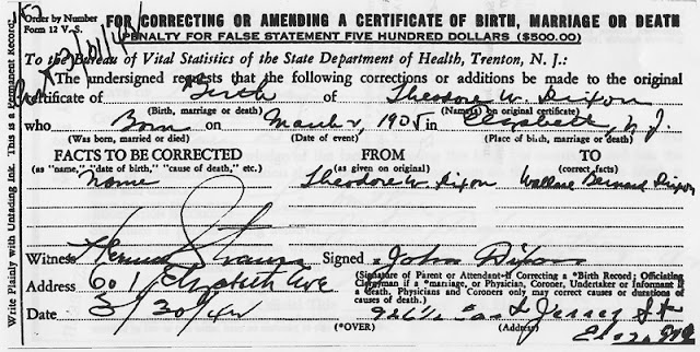 Form officially correcting my grandfather's name from Theodore Wallace Dixon to Wallace Bernard Dixon.
