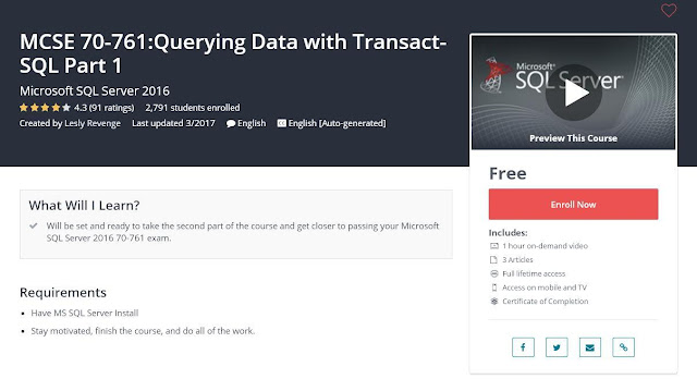 MCSE 70-761:Querying Data with Transact-SQL Part 1