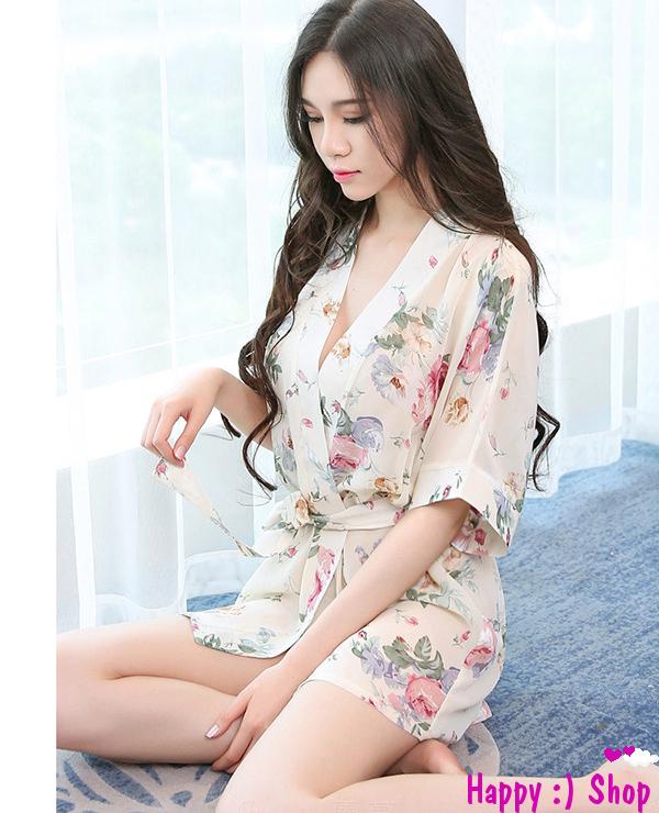 Áo choàng nữ kimono voan hoa gợi cảm 4