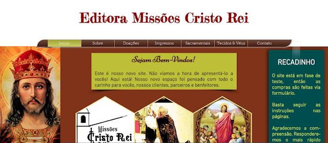 Conheça nosso novo site da Editora Missões Cristo Rei!