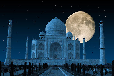 Taj Mahal at Full Moon Night