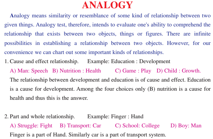 English Language Analogy Notes Types Questions And Answers Pdf