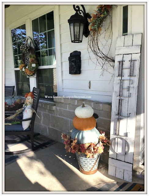 Fall- Porch-Welcome-Sign-Stacked-Pumpkins-Chalk-Paint-Olive-Bucket-DIY-Porch-Decor-From My Front Porch To Yours