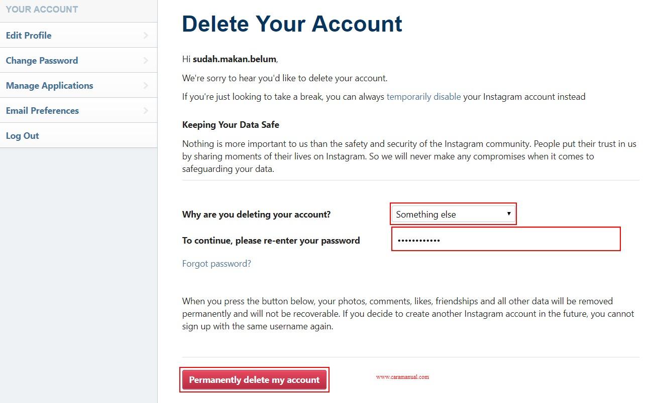 Cara Menghapus Akun Instagram Permanen di Laptop 2