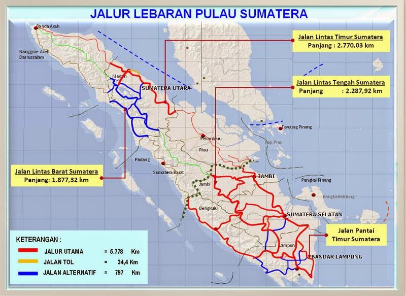 Peta Jalur Mudik Lebaran Pulau Sumatera 2017