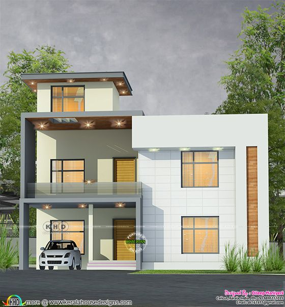 Contemporary flat roof home front elevation