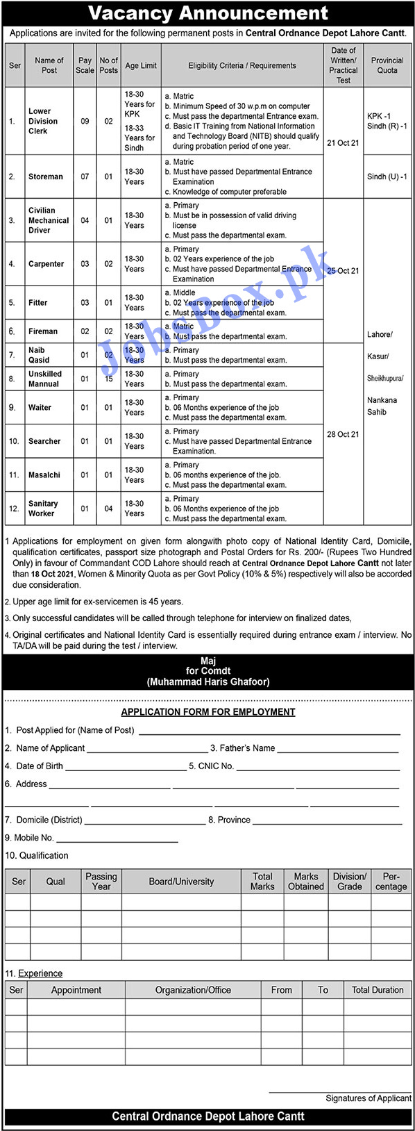 Pak Army Central Ordnance Depot COD Jobs Opportunities 2021