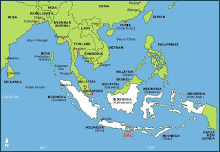 Mapa de Indonesia y de Bali.