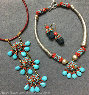 ethnic beadwoven necklace, silk thread jewellery