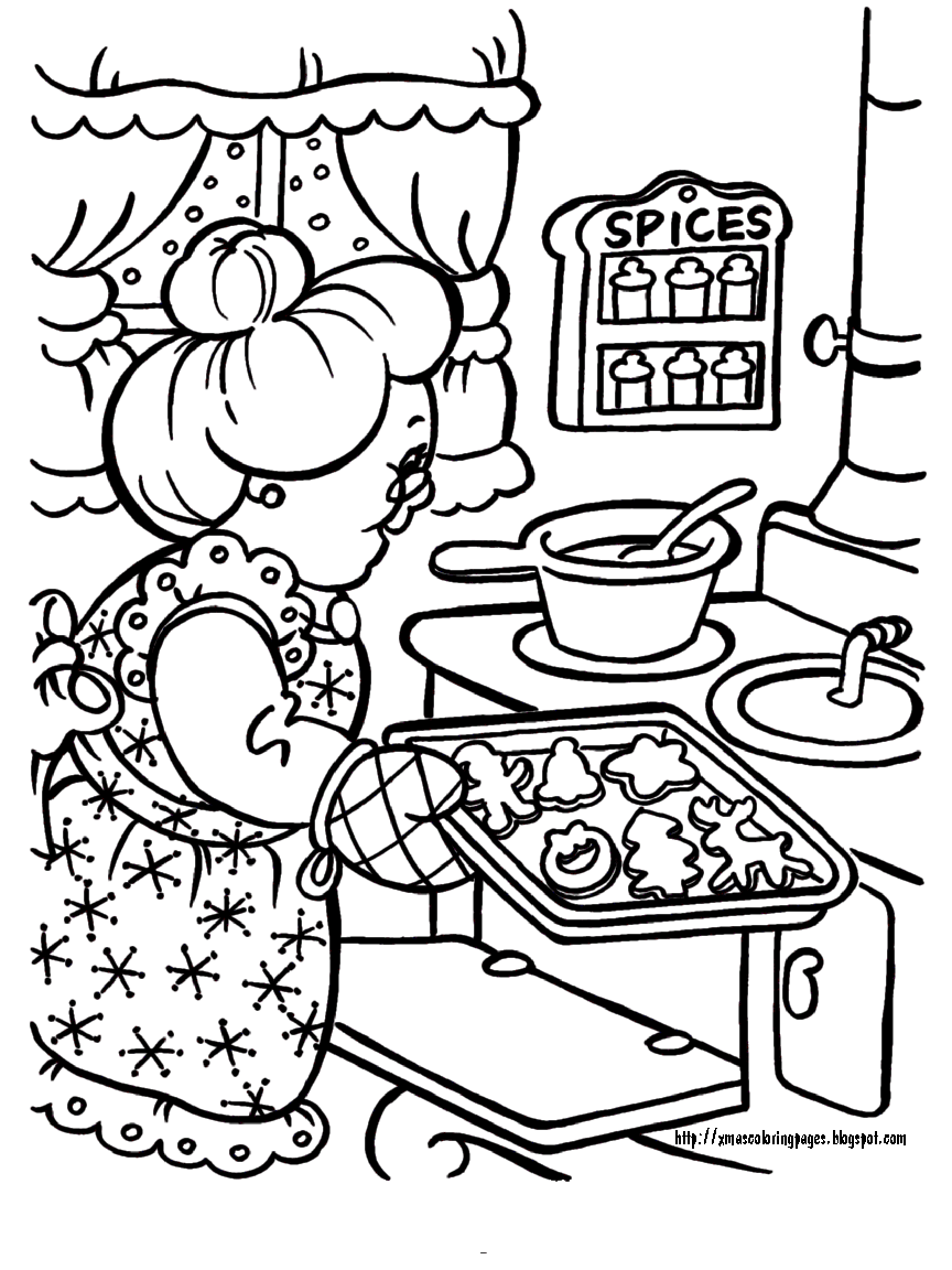 Mrs Claus baking cookies (864×1152) | Santa coloring pages ...