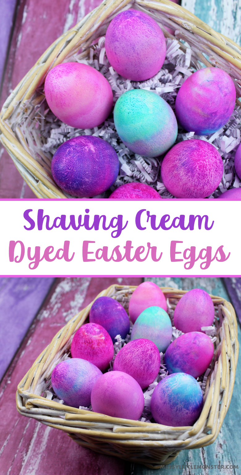 Shaving cream Easter eggs. Full directions on dying eggs with shaving cream and food colouring.