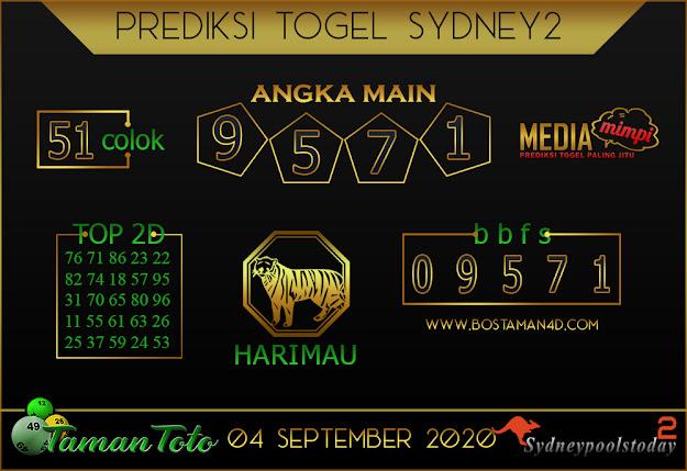 Prediksi Togel SYDNEY 2 TAMAN TOTO 04 SEPTEMBER 2020