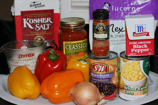ingredients needed to make vegetarian stuffed bell pepper recipe in the crockpot slow cooker