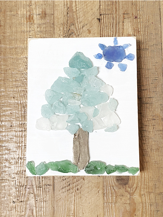 sea glass tree picture on a table