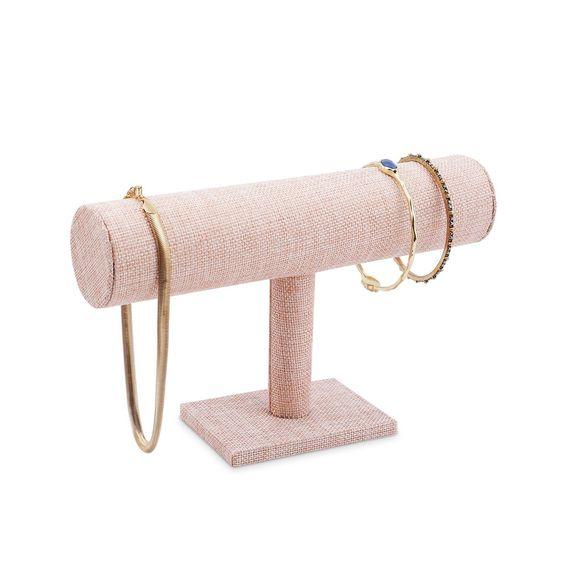 #ZZ-219PKLN Pink Linen Wood Jewelry Bracelet Display Holder