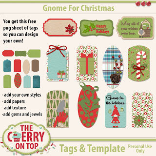 Gnome For Christmas Tags