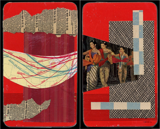 Abstract collages on back of playing cards
