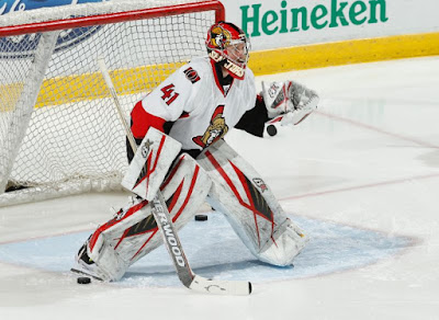 Goaltender Craig Anderson of the Ottawa Senators warms up prior a NHL game in Florida