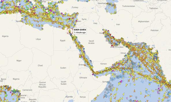 Süveyş Kanalı çevresindeki gemi trafiği, görsel hafıza 25 Mart 2021
